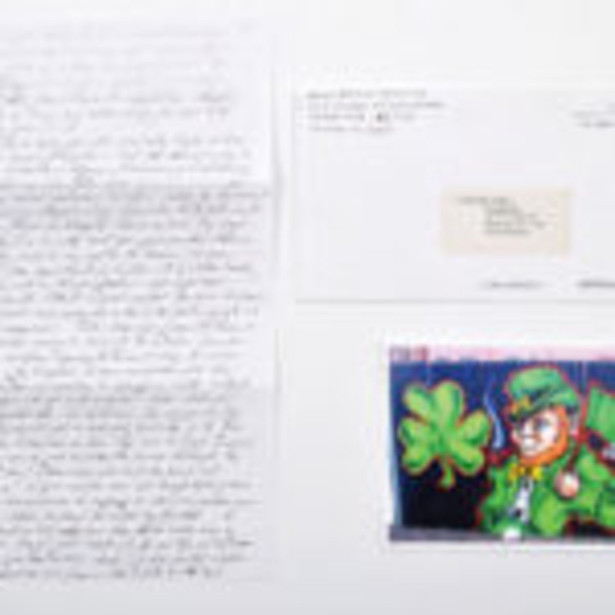 St. Patrick's Day 2015 notecard and handwritten letter sent by Boston gangster Whitey Bulger from behind bars, $1,430. Photos courtesy of Urban Culture Auctions