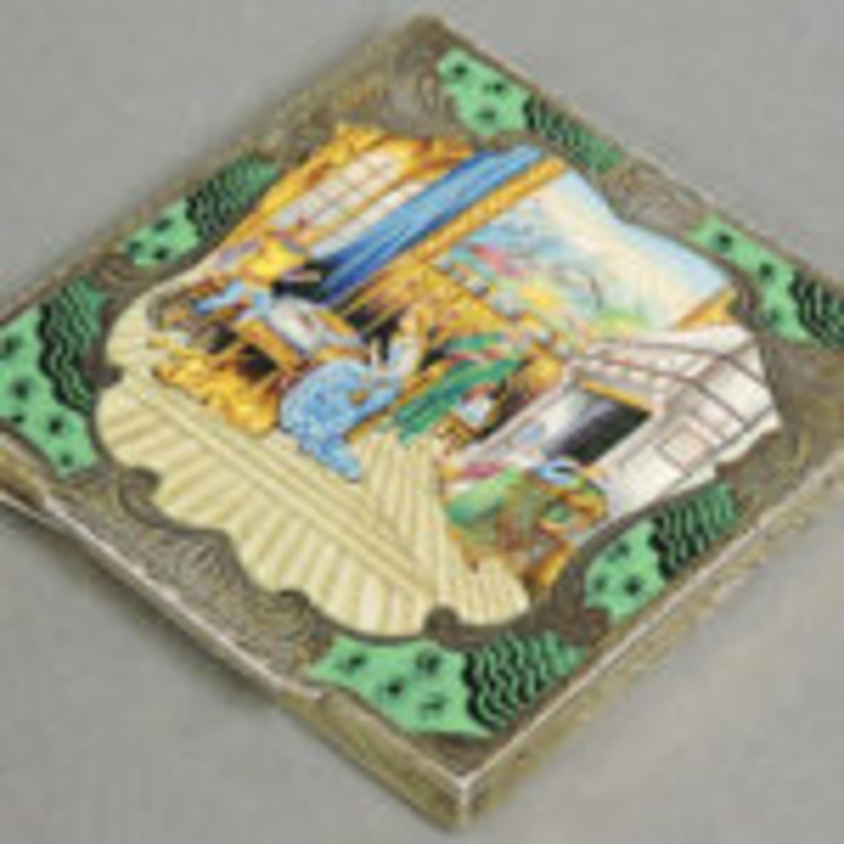 Continental silver and enamel compact