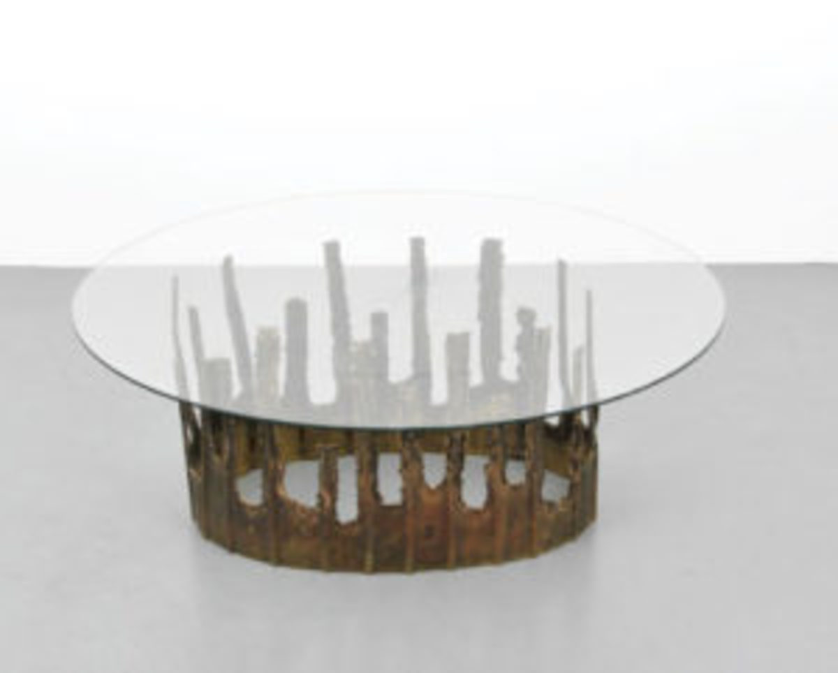 Brutalist glass table