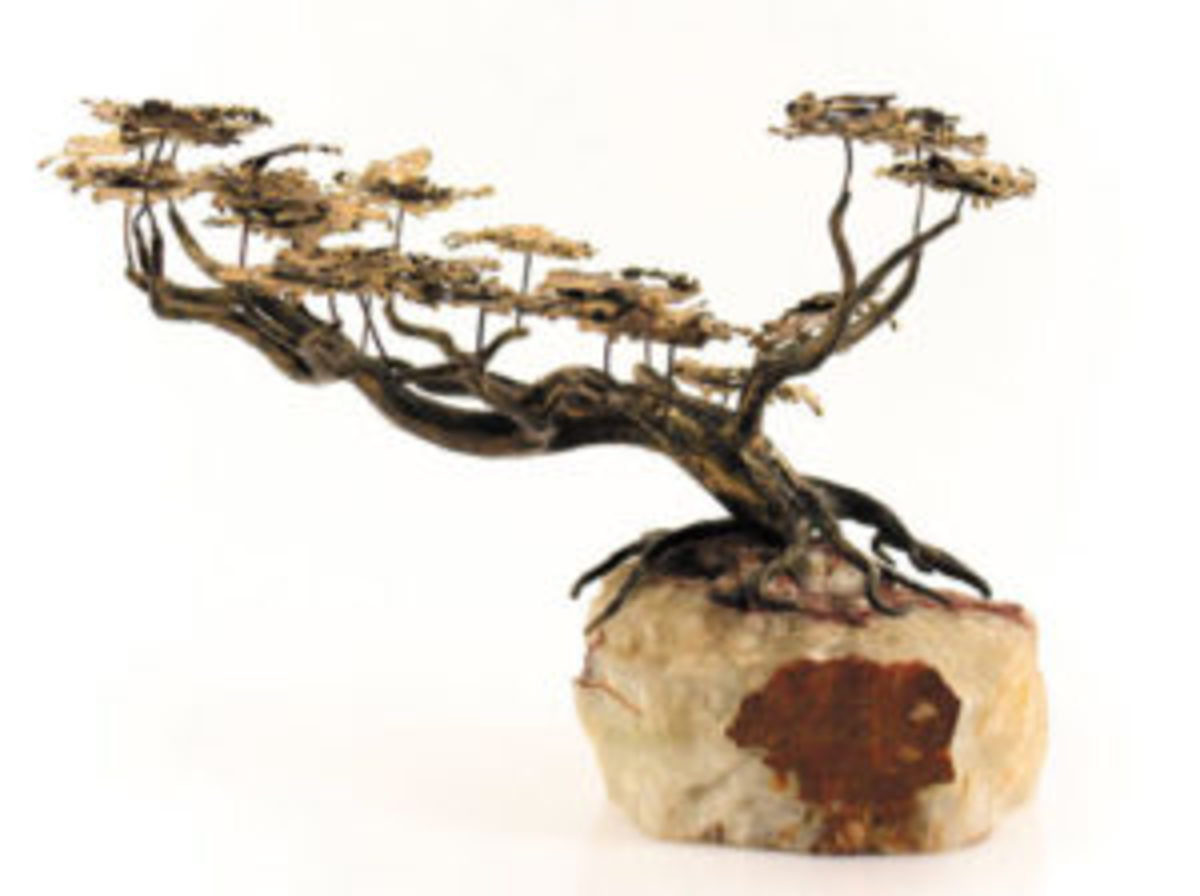 Brutalist bonsai sculpture