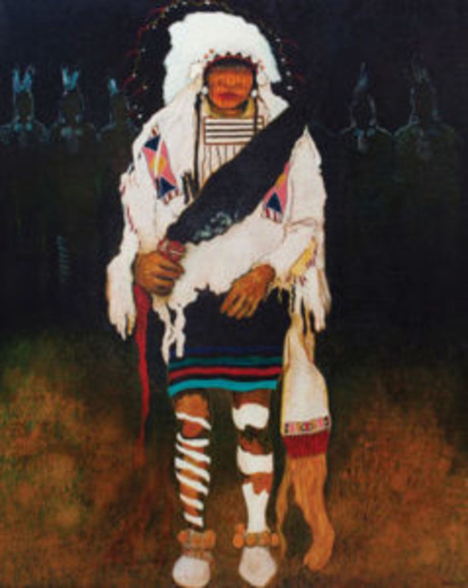 "Kevin Red Star (Crow, b. 1943), Grandfather, oil on canvas, signed Kevin Red Star, 60"" x 47 1/2"" ($6,000-$8,000)"