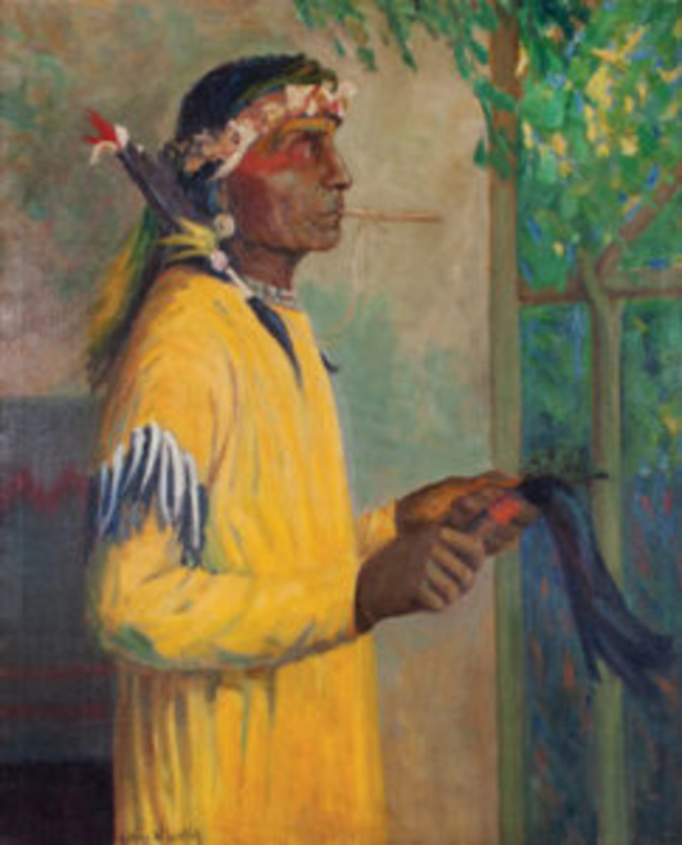 "Portrait of Lazy Boy - Blackfoot, oil on canvas, signed Kathryn W. Leighton, 44"" x 36"" ($15,000-$20,000)"