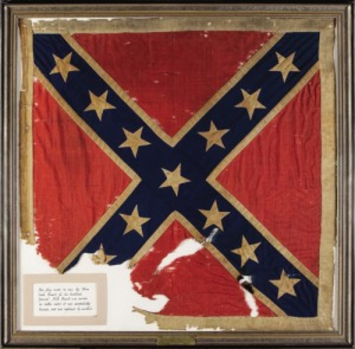 The personal battle flag of Confederate General James Ewell Brown (JEB) Stuart, perhaps the most famous, daring and flamboyant cavalry commander in the Civil War, who fell in battle on May 11, 1864. Sold through Heritage Auctions December 2006, $956,000. Courtesy of Heritage Auctions, www.ha.com