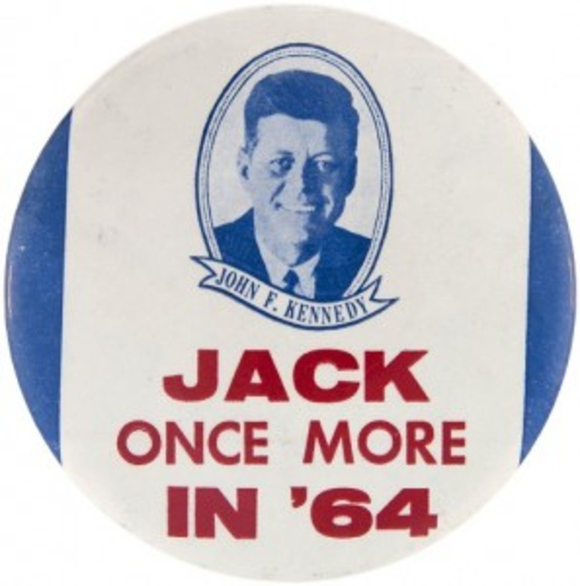 4-inch button produced in anticipation of John F. Kennedy's 1964 campaign, one of fewer than six known, est. $2,000-$5,000. Hake's image