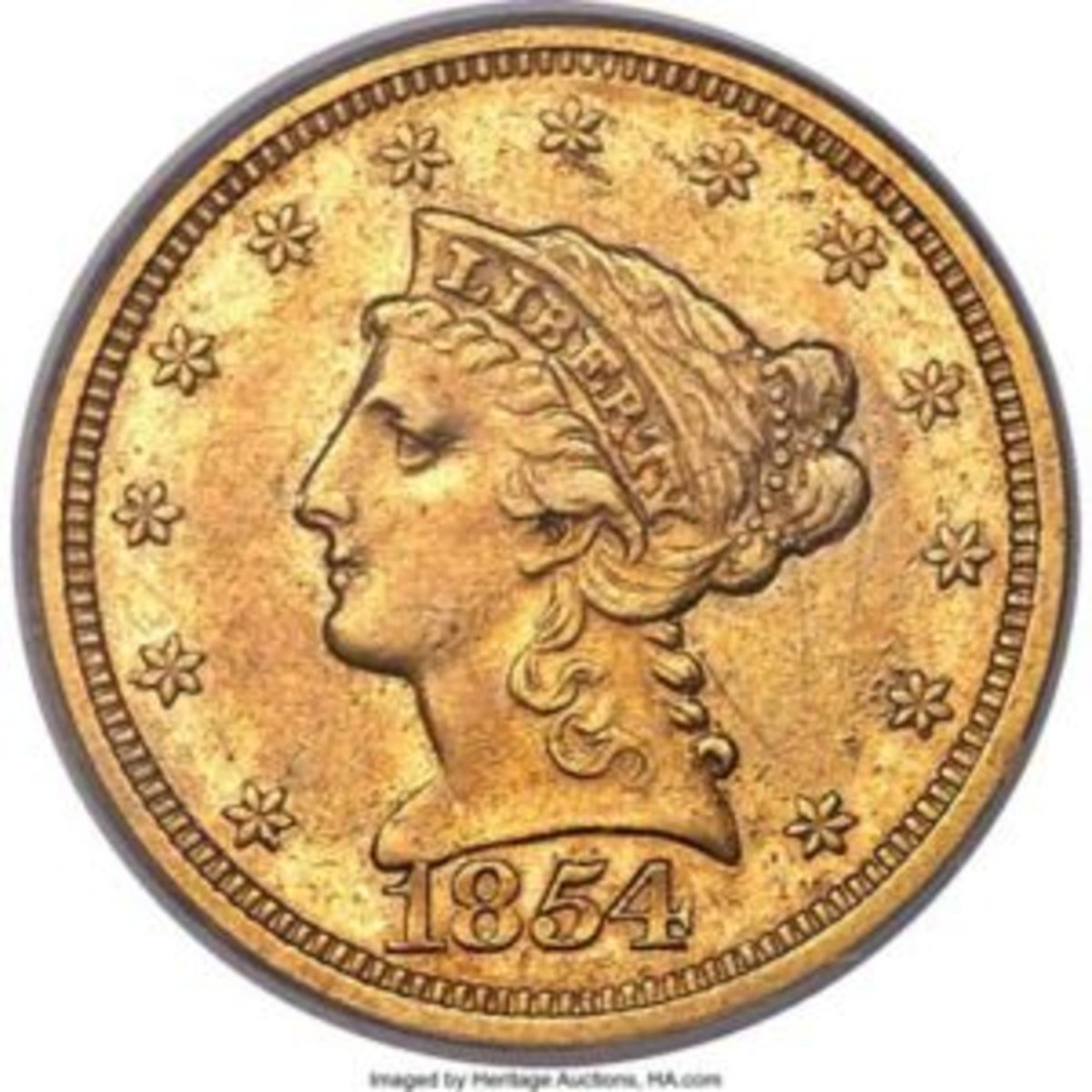 1854-S Liberty Head Half Eagle.