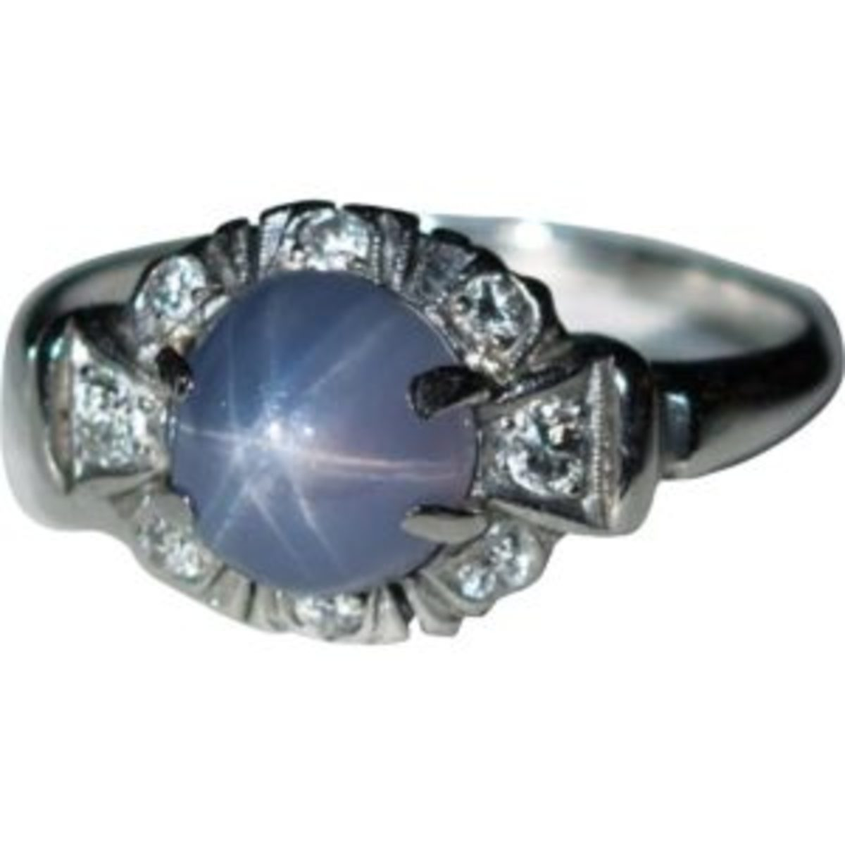 Star sapphire, diamond, platinum ring. Courtesy of Ruby Lane