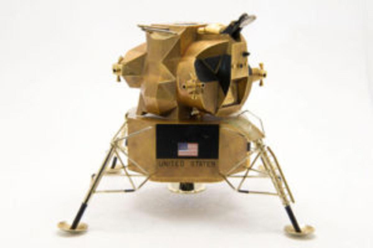 Gold lunar module replica