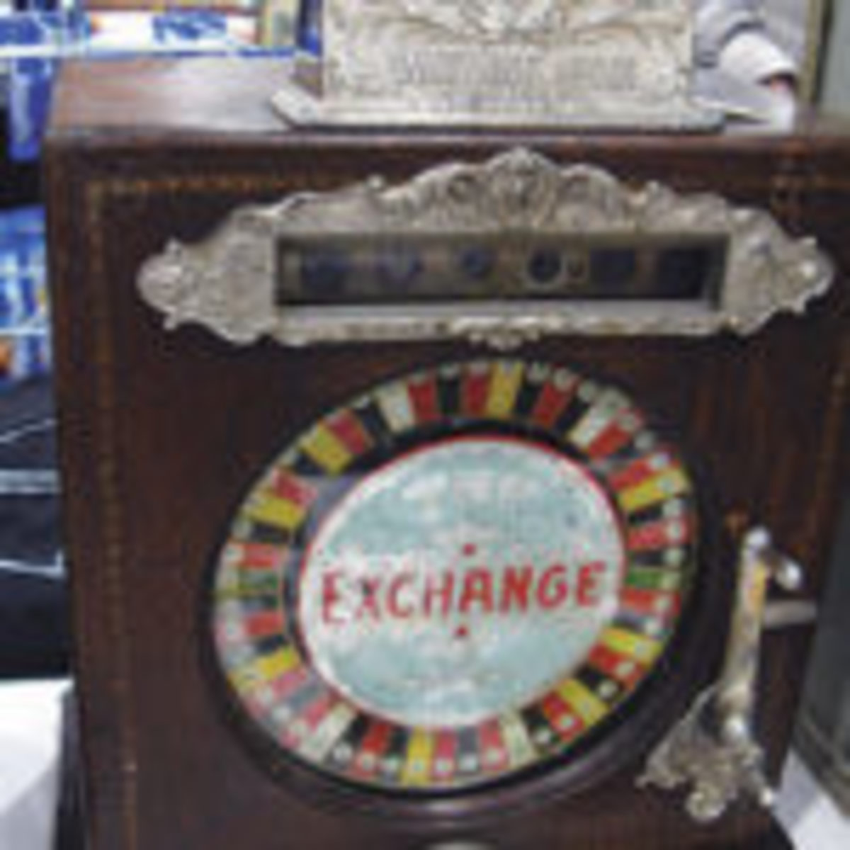 Robert McCurdy drove 650 miles to the show from White, South Dakota to show off an all original 18-inch-tall nickel plated cast iron and wood slot machine with fancy glass face. The nickel operated slot could spin and entertain guests at your place for $8,500.