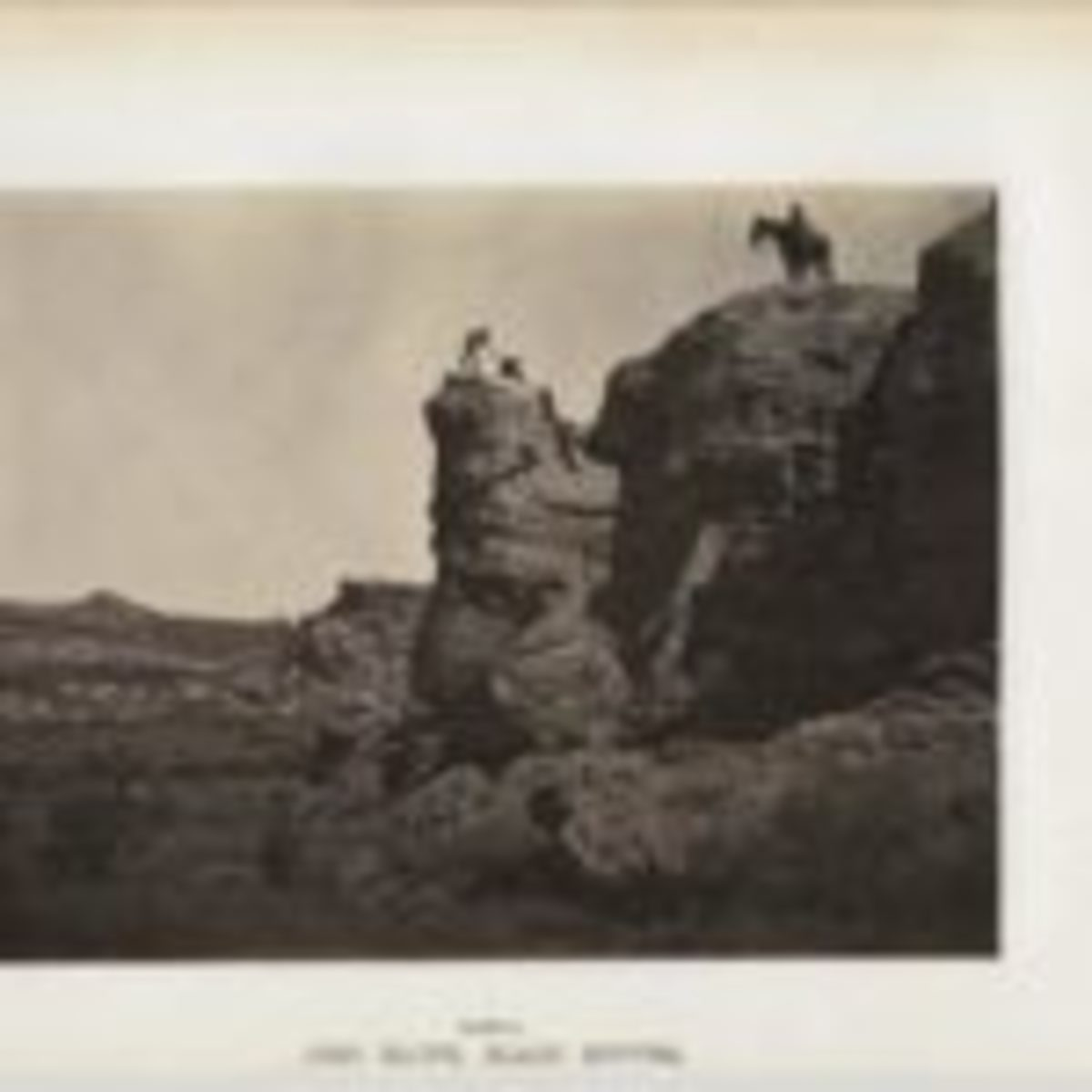 "One of Andrew Russell's photographs from ""The Great West Illustrated."" High Bluff Rock in the Black Buttes in Wyoming, was an extraordinary rock formation found along the route of the transcontinental railroad. This photograph of High Bluff Rock was taken in 1869 and features people attempting to climb and traverse the impressive rock formation. Plate 21."