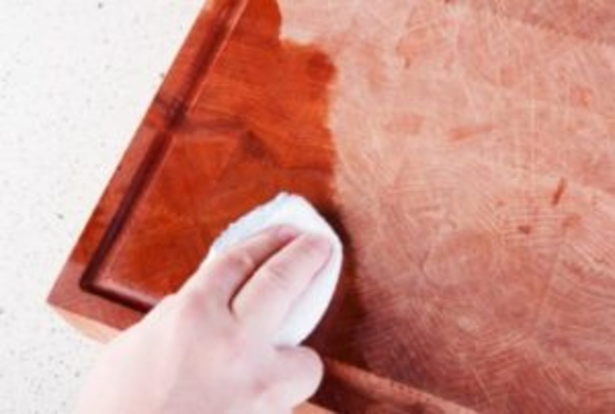 Cleaning furniture with mineral oil