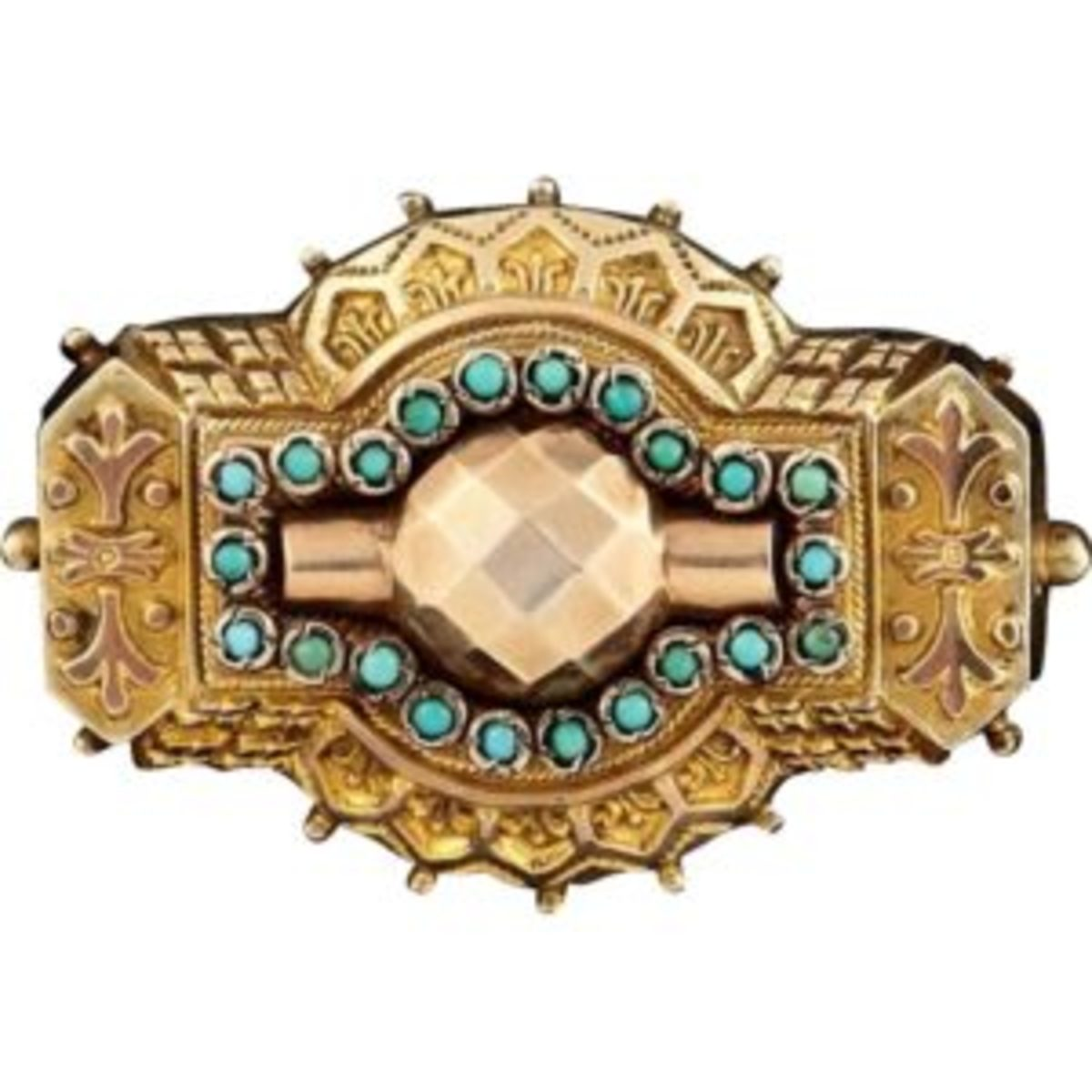 Etruscan Revival Victorian locket brooch. Courtesy of Ruby Lane.