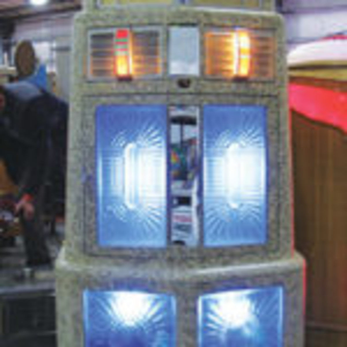 At 71 inches tall, the 1939 AMI Singing Tower jukebox may have earned the title of the tallest jukebox at the show. Steve Carlton of Salt Lake City priced the music maker at $9,500.