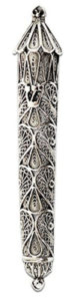 "Small, elegant, handcrafted, sterling silver Tzirel Mezuzah Case featuring traditional, delicate Yemenite filigree, 3.8"" x 1.8"", 11gr. Courtesy www.nadavart.com"