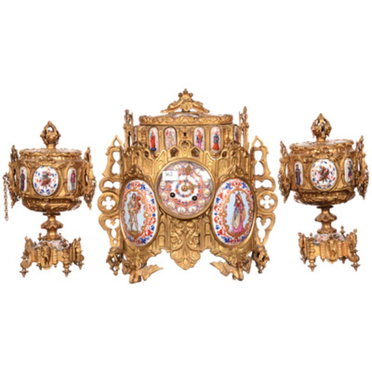 decorative arts: Sevres ormolu clock set