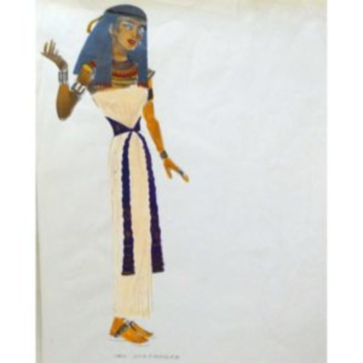Original costume sketch by Jean Louis. Courtesy of Ruby Lane.