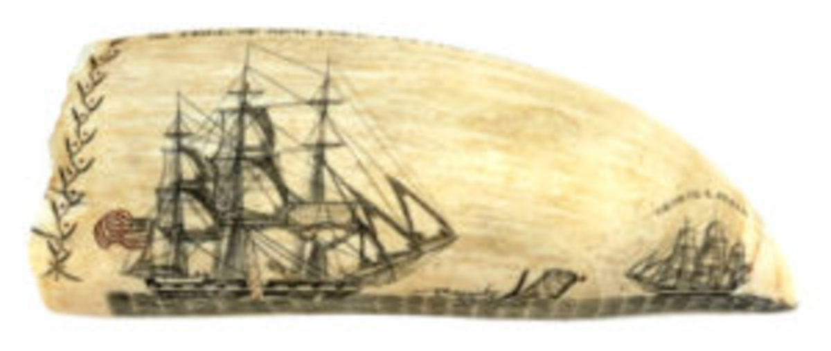 Burdett scrimshaw tooth with whaling scene