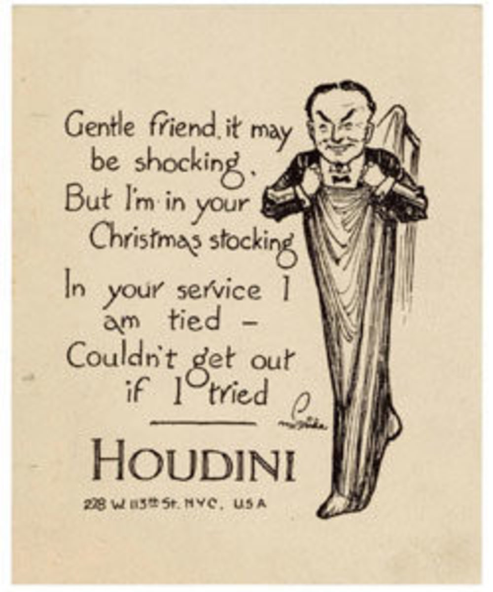 A c. 1918 Harry Houdini Christmas card, illustrated by George McBride with a caricature of Houdini emerging from a stocking, flanked by a rhyming verse, sold for $1,650 on its $250-$350 estimate.
