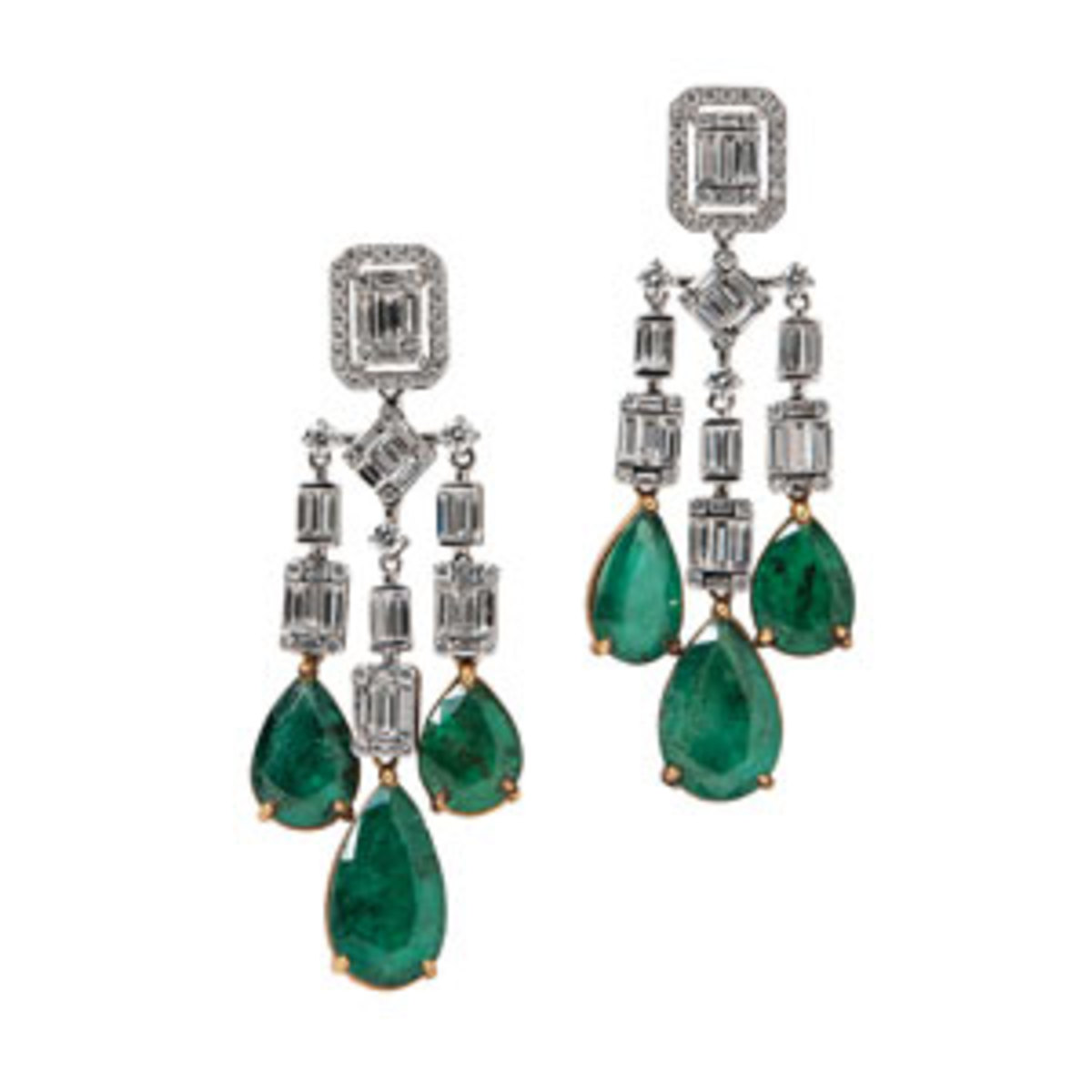 """18kt gold, emerald, and diamond earrings, Umrao,the full- and baguette-cut diamonds suspending emerald drops, total diamond wt. 2.45, total emerald wt. 12.15 cts., 1-7/8"""" l.Estimate: $4,000-$6,000."""