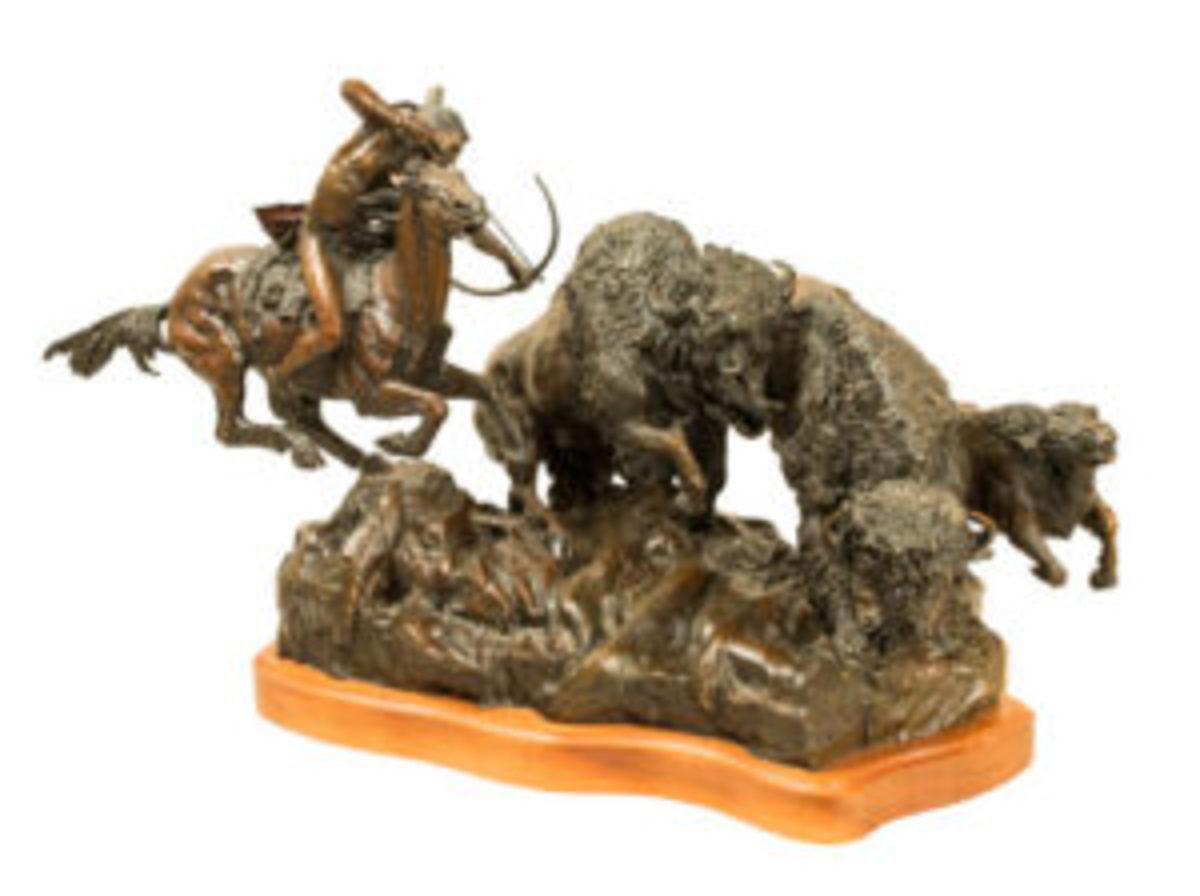 "'Need for Buffalo"" bronze sculpture"
