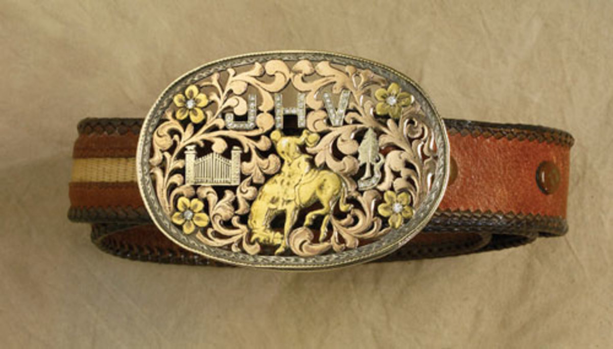 A Edward H Bohlin buckle, part of a collection of buckles, saddles and briefcases set to be auctioned during the High Noon Western Americana Weekend. (Photo courtesy High Noon)