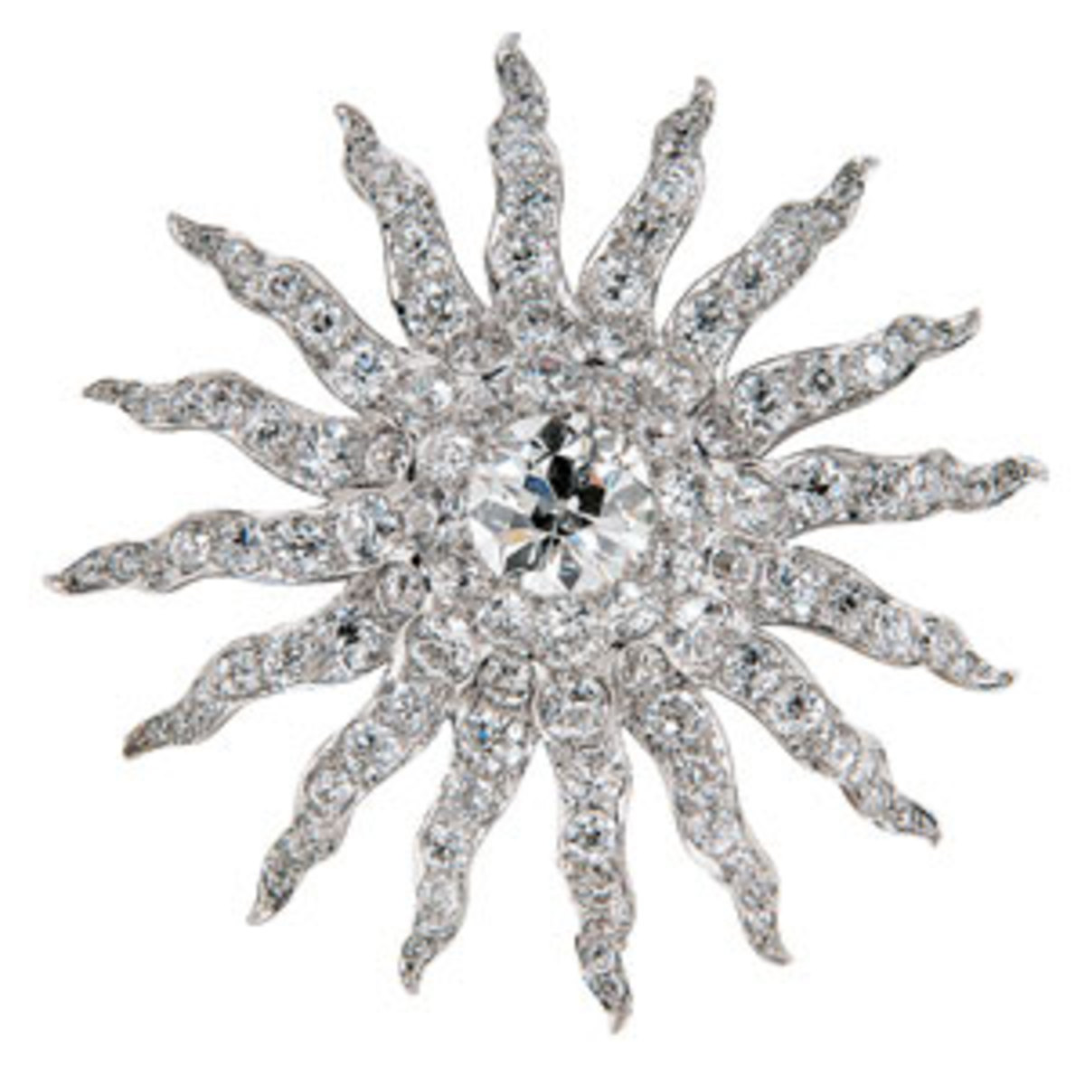 """Antique diamond sunburst brooch, Howard & Co.,late 19th century, centering an old European-cut diamond weighing approx. 6.25 cts., and old European- and old mine-cut diamonds, approx. total wt. 21.25 cts., platinum-topped gold mount, 2-5/8"""" l, signed, in original fitted box.Estimate $30,000-$50,000. Provenance: Descended in the family of Mrs. Hope Goddard Iselin of New York and Newport, from her mother, Mary Edith Jenckes Goddard.Mrs. Iselin was an avid horsewoman, golfer and accomplished sailor who competed on an international level."""