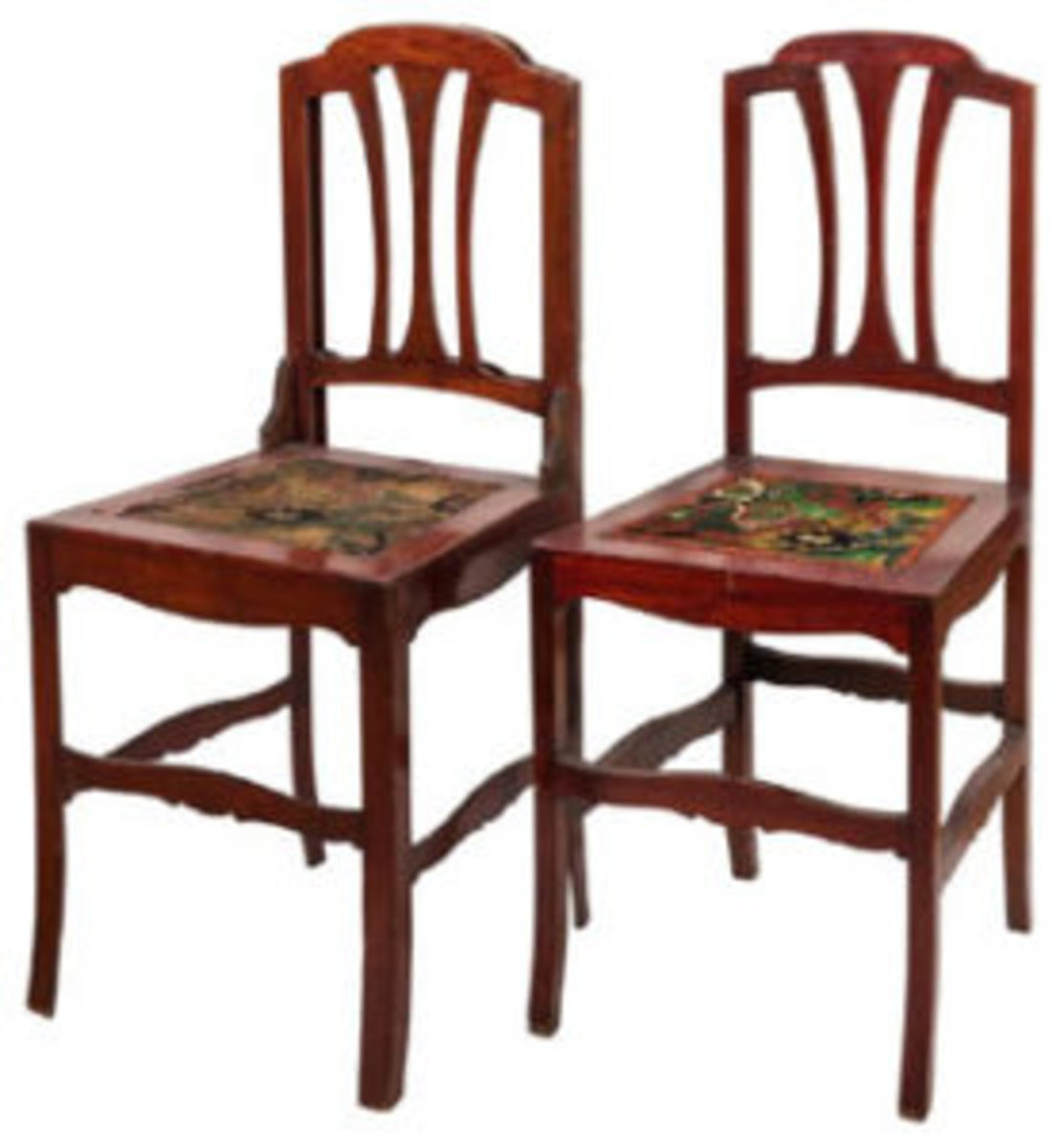 A pair of c. 1938 McDonald Birch's Multiplying Chairs sold for $4,320. This illusion has a wooden chair with a patterned fabric seat suddenly, quickly, and magically, become two matching chairs in the blink of an eye.