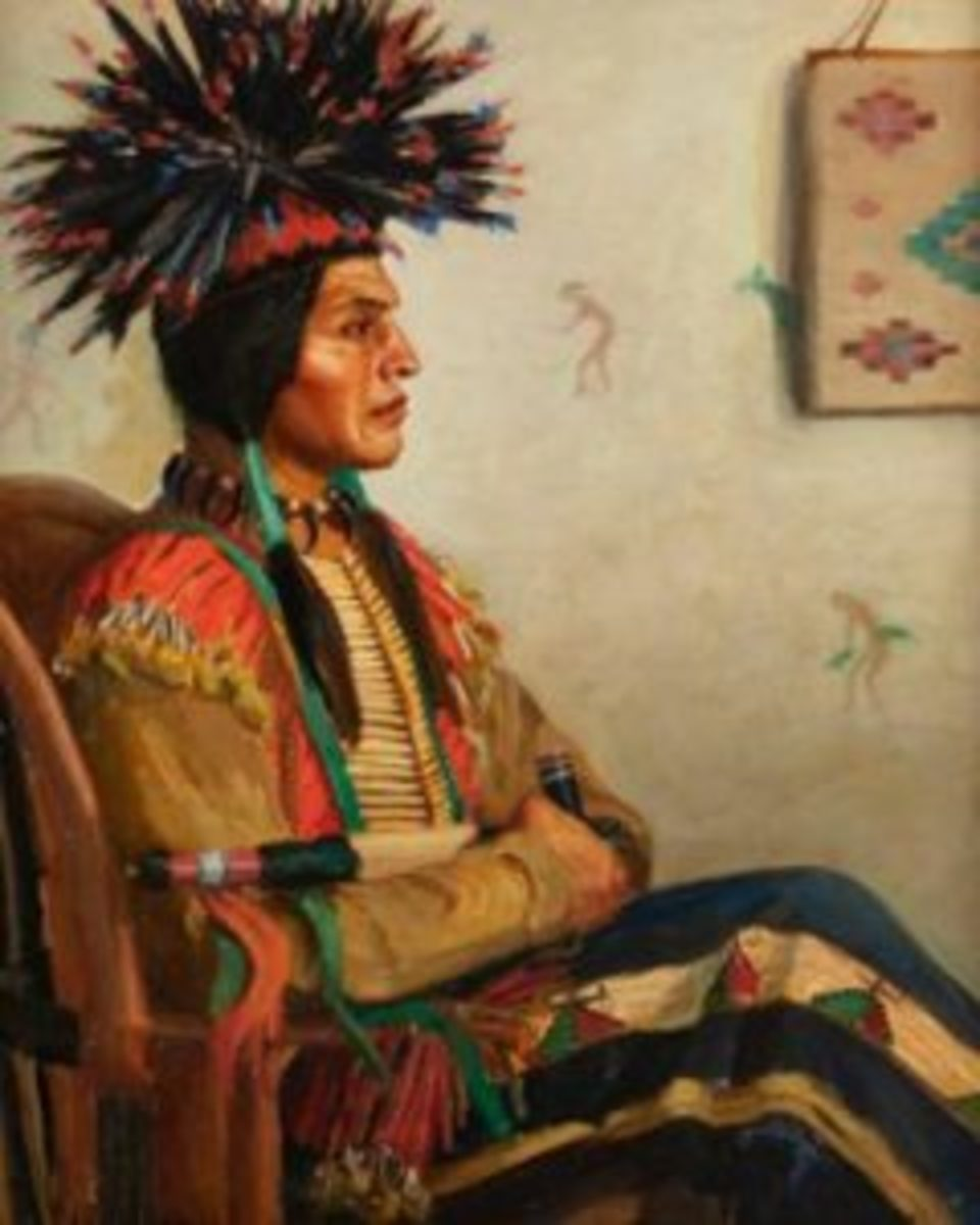 "Lot 1047, Kathryn W. Leighton (1875-1952 Los Angeles, CA), ""The Young Chief,"" oil on canvas, 44.25"" h. x 36"" w., $22,500."