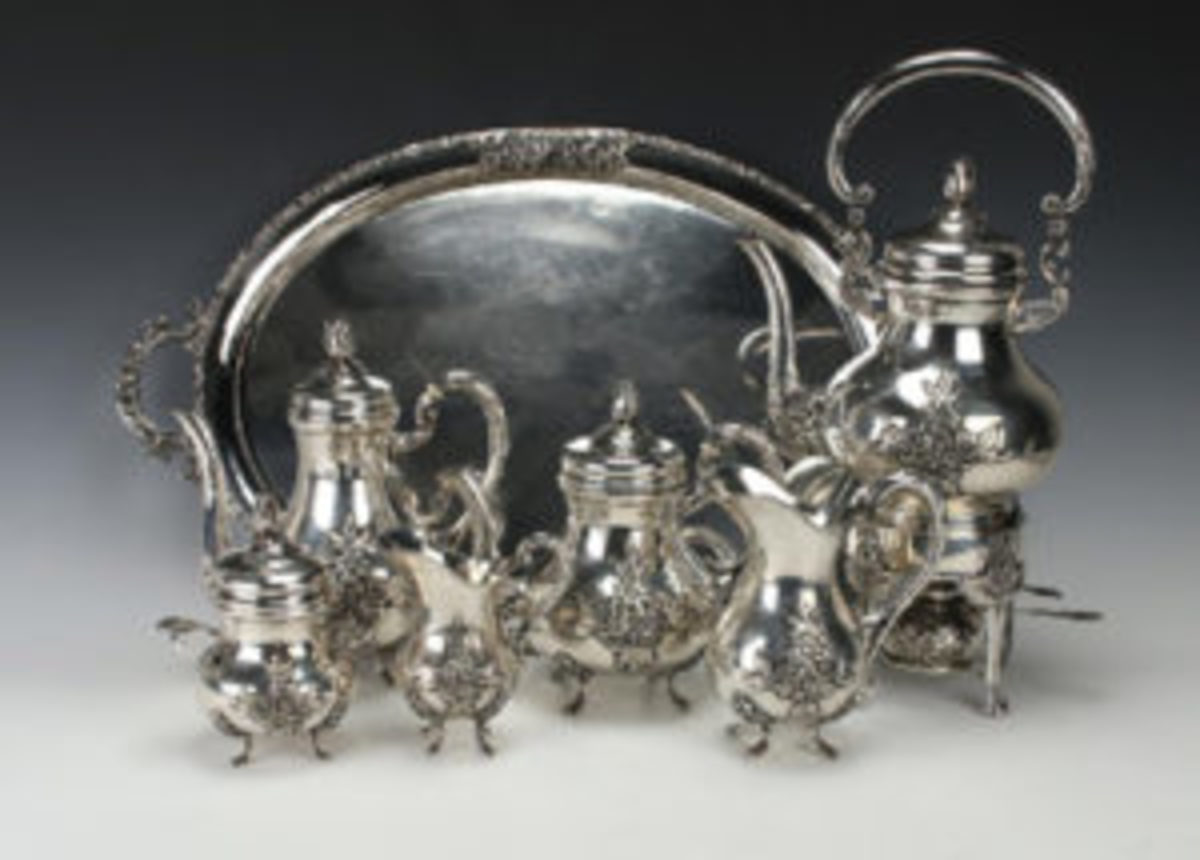 Seven-piece German silver set