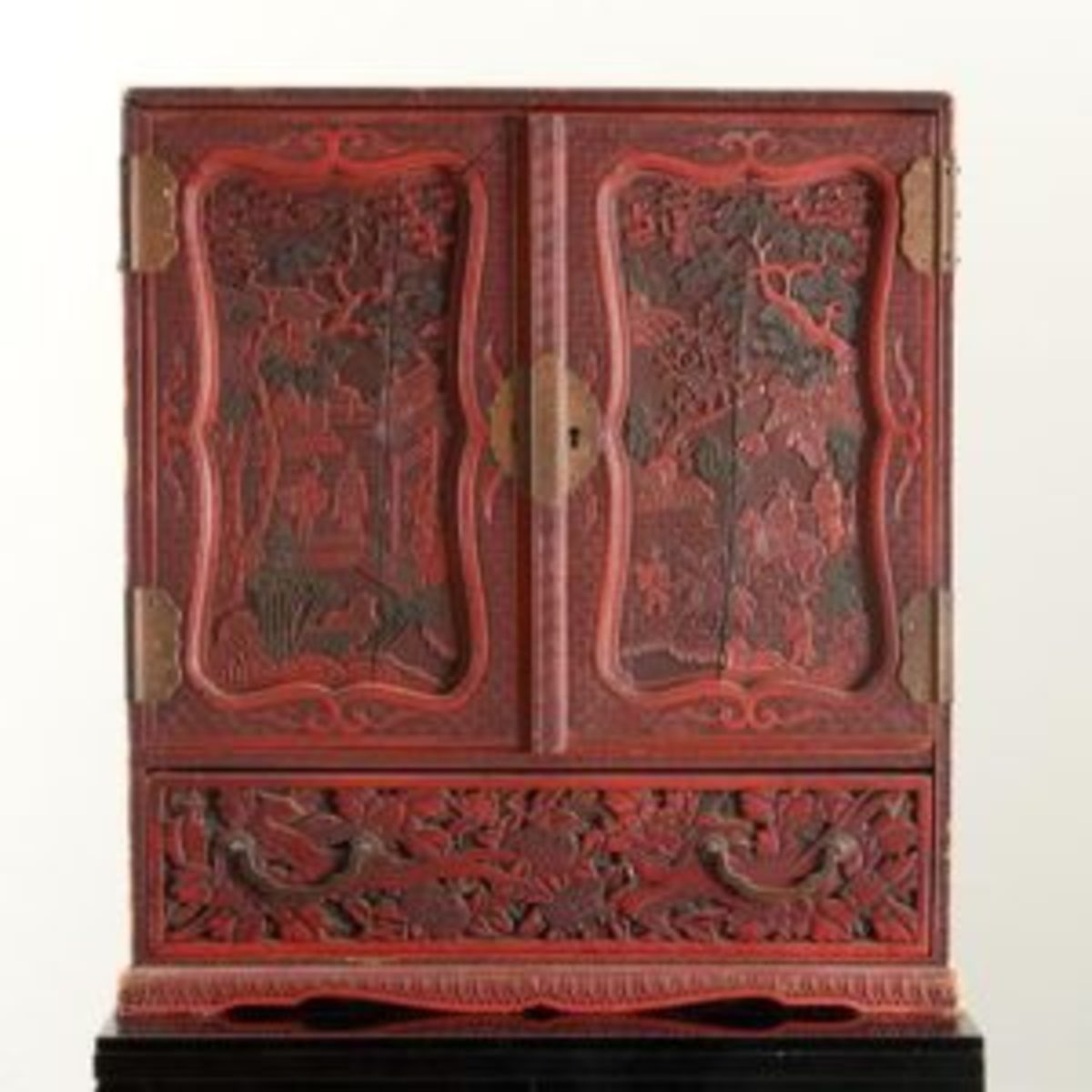 Chinese carved red lacquer chest
