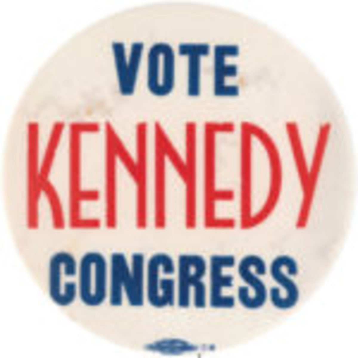 Important 'Vote Kennedy Congress' button from JFK's first political campaign, 1946. One of fewer than 10 known to Hake's experts. Est. $10,000-$20,000