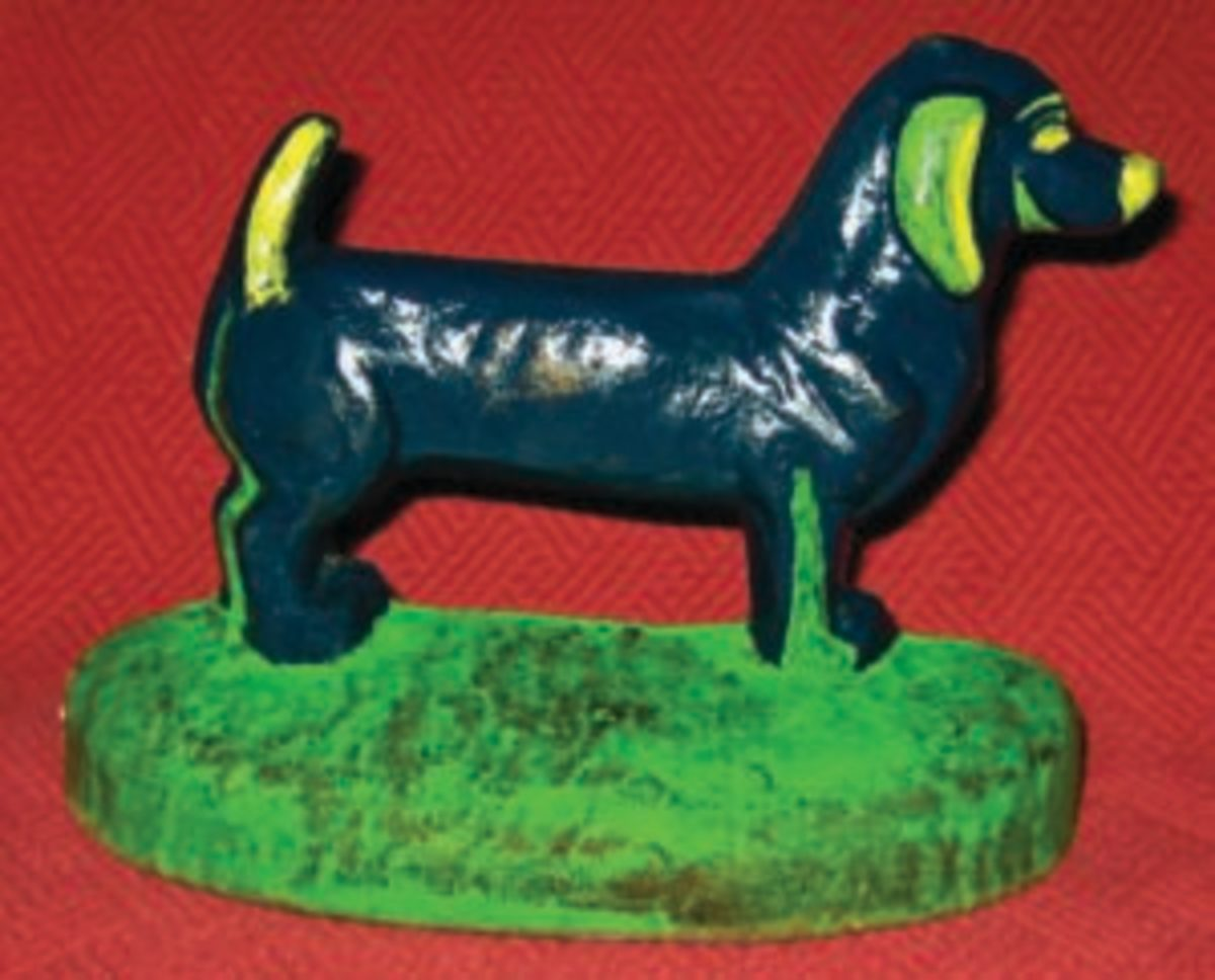 A new addition to Thompson's collection is this Dachshund doorstop by Taylor Cook. Image courtesy of Scott Thompson