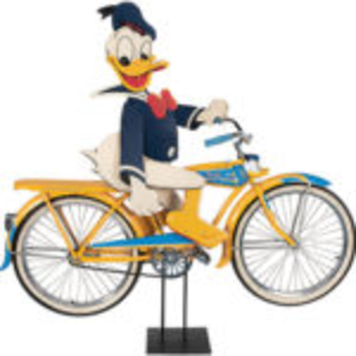 "Donald Duck Shelby Bicycle store display with rare Donald Duck rider figure with light-up eyes and ""quack"" sound in place of a horn. Est. $5,000-$10,000"