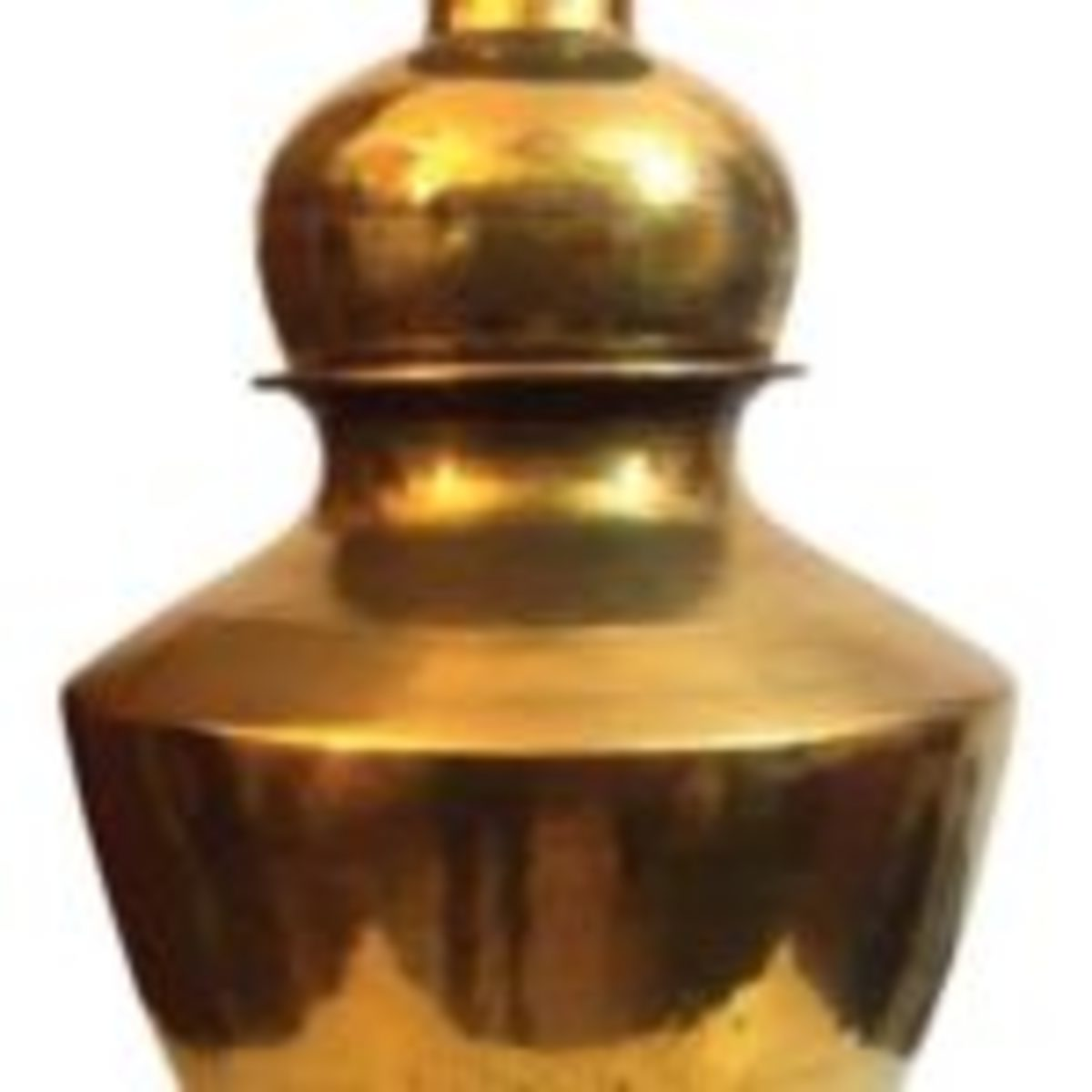 Indian brass milk pot.This container is of an ancient design. They were used in rural villages to transport milk or water. These were treasured items and were handed down the family from one generation to another.