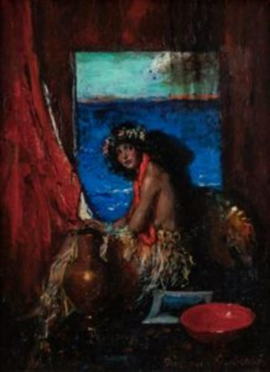 "Lot 1078, Indiana Gyberson (1875-1994 Brooklyn, NY), Polynesian beauty, oil on canvas laid to canvas, 16"" h. x 12"" w., $2,250. All images courtesy John Moran Auctioneers"