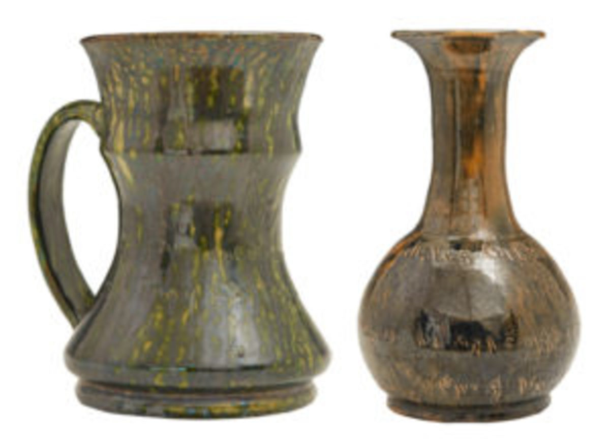 George Ohr studios mug and vase