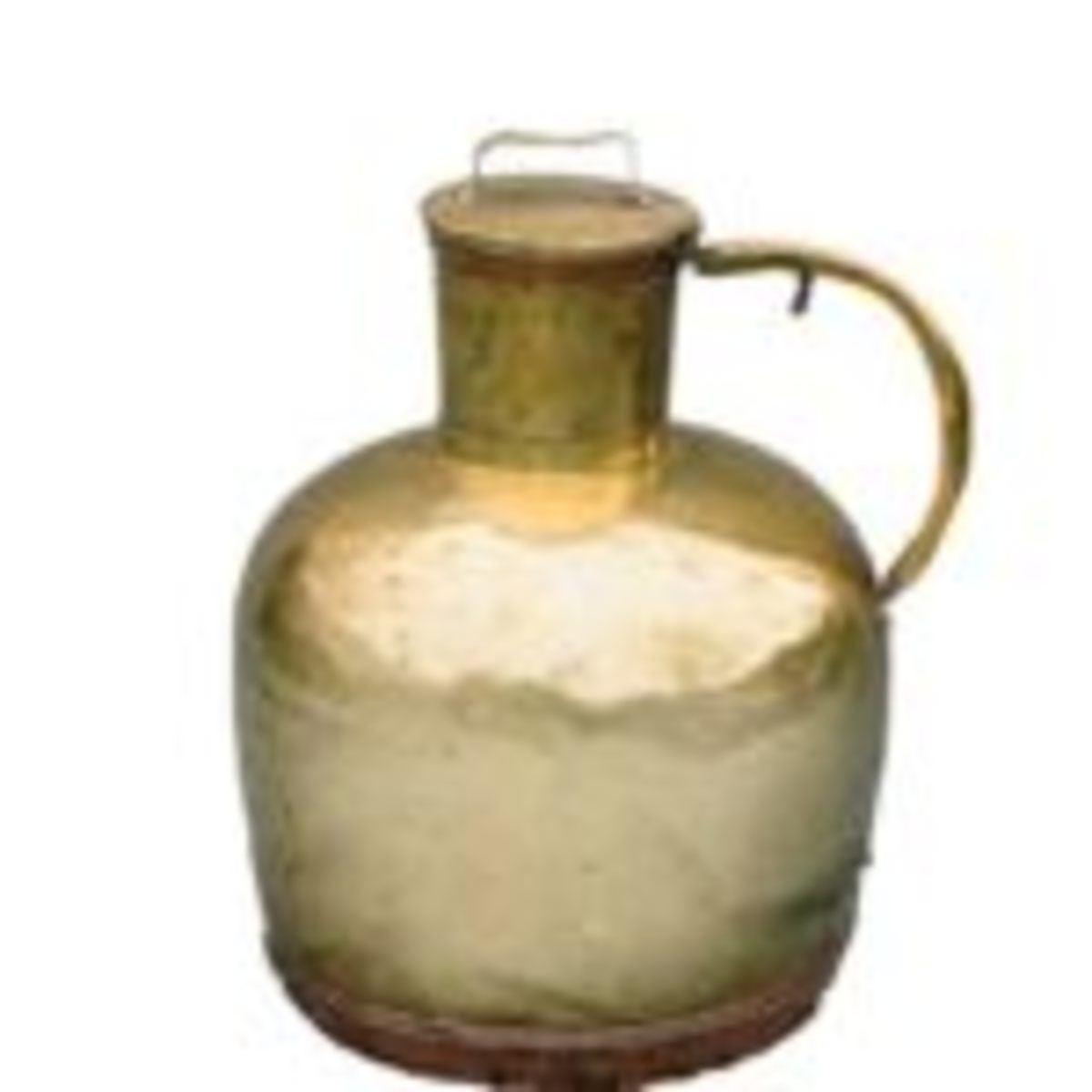 This is a rare example of a four gallon brass milk can that dates back to the early 1800s or possibly the late 18thcentury. The shape is typical of early western Europe.