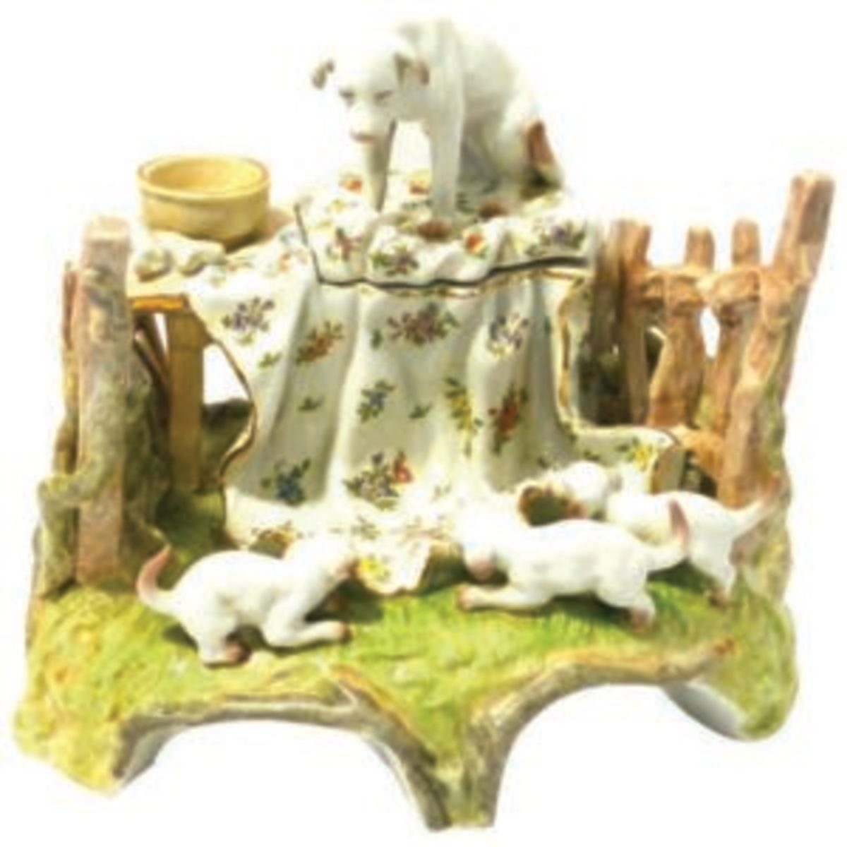O'Connor loves the story this Conta & Boehme porcelain inkwell tells of a mother dog and her rambunctious pups. Image courtesy of A Dog's Tale Collectibles