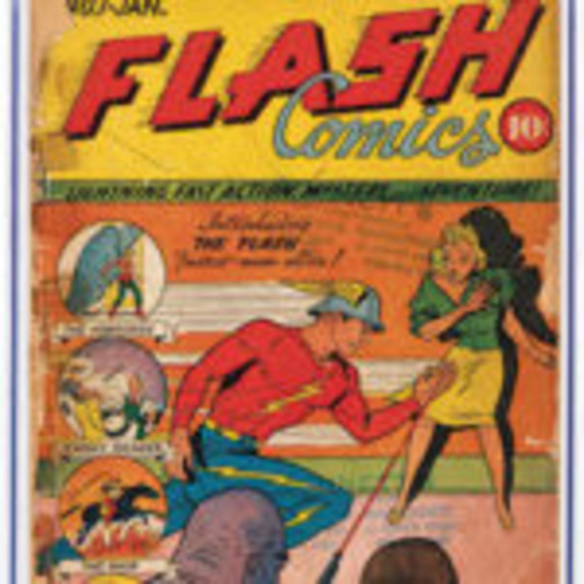 Flash Comics #1 (Jan. 1940), debut appearance of Flash, Hawkman, Johnny Thunder and Shiera Saunders (aka Hawkgirl), CGC-graded 0.5. Extremely rare in any condition. Est. $20,000-$35,000