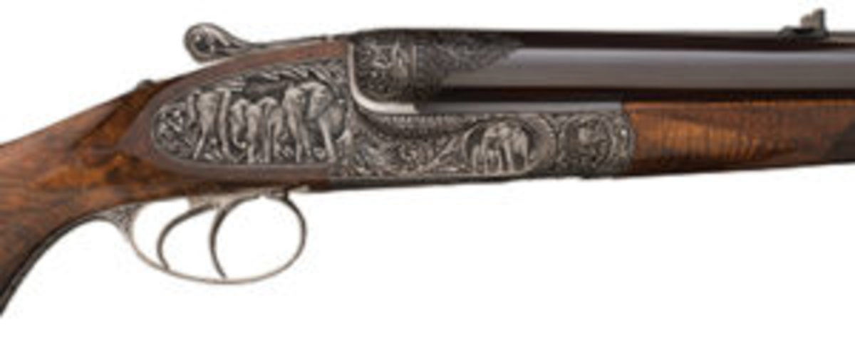 Important Phillippe Grifnee signed master deep relief elephant game scene engraved 700 Nitro Express Holland & Holland Side Lock ejector side by side hammerless double barrel dangerous game rifle.