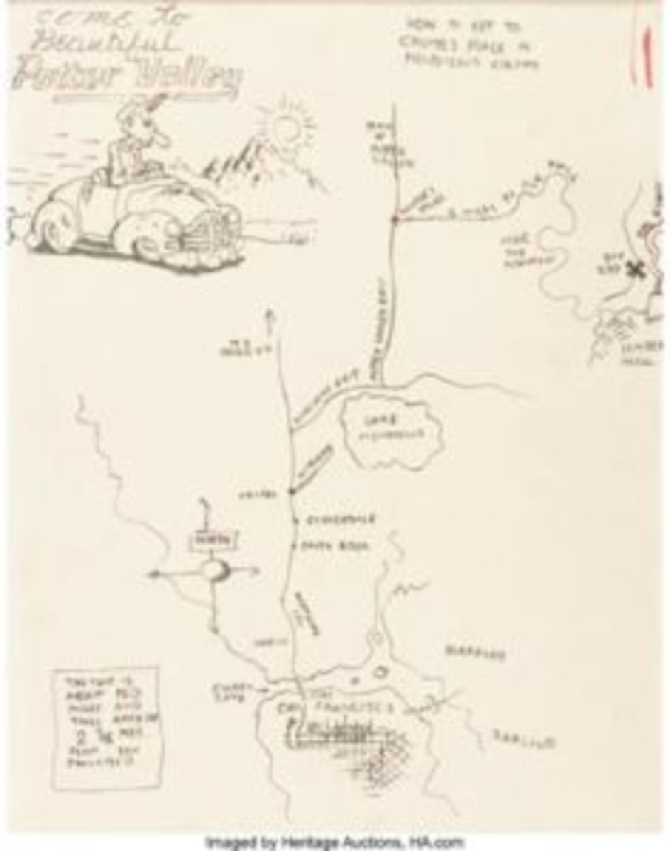 A good map can be invaluable, as wildly popular underground comics artist Robert Crumb illustrated with his hand-drawn map to his home in Potter Valley, Calif. The map sold for more than $5,000 at a Heritage Auctions sale. Images courtesy Heritage Auctions