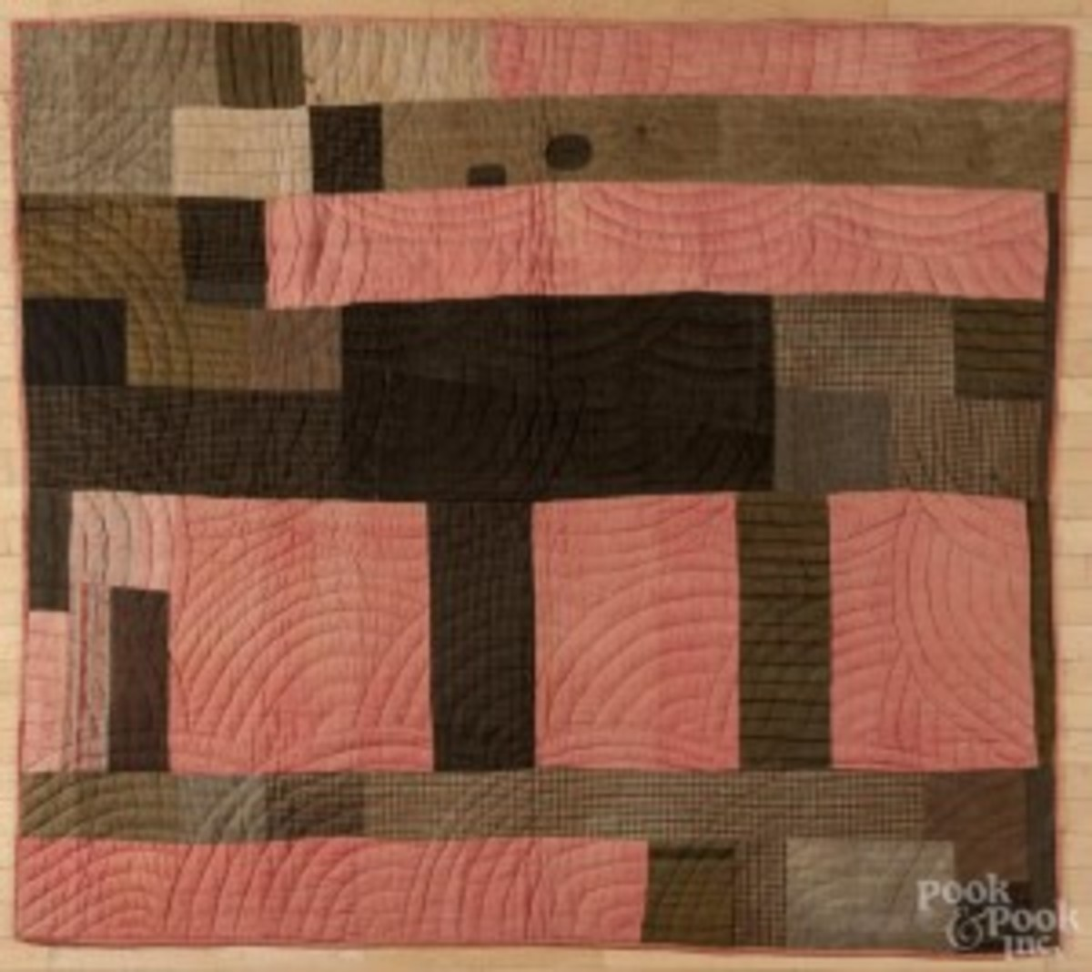 """Lindsey Woolsey salmon bed cover, ca. 1800, 67'' x 80"""", is expected to fetch between $300 to $500. (Photo courtesy Pook & Pook)."""