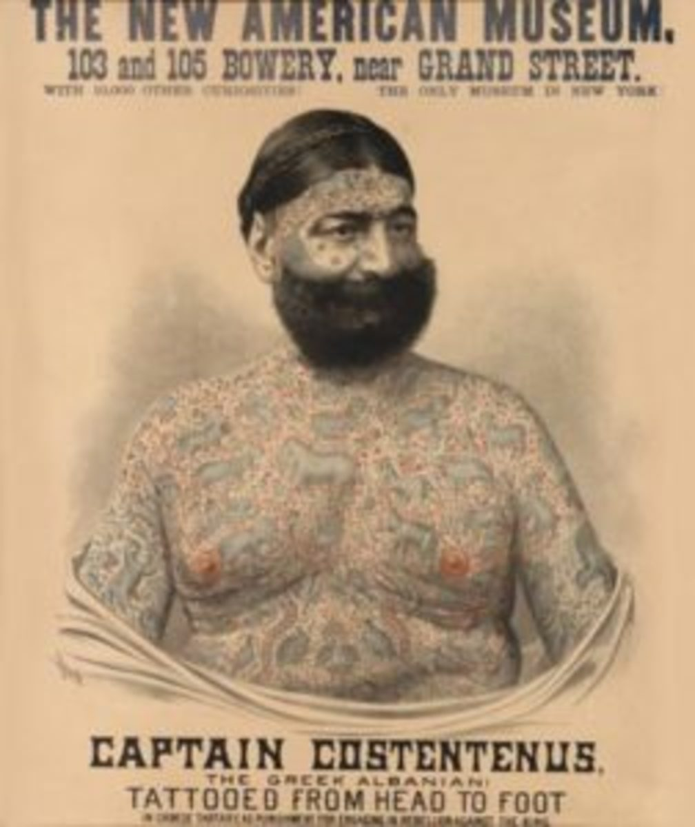 A main attraction for P.T. Barnum's Circus in the late 1880s, the marvelously tattooed Captain Costentenus enthralled fans worldwide. This rare poster sold for $6,750 at Swann Galleries. Image courtesy Swann Galleries.