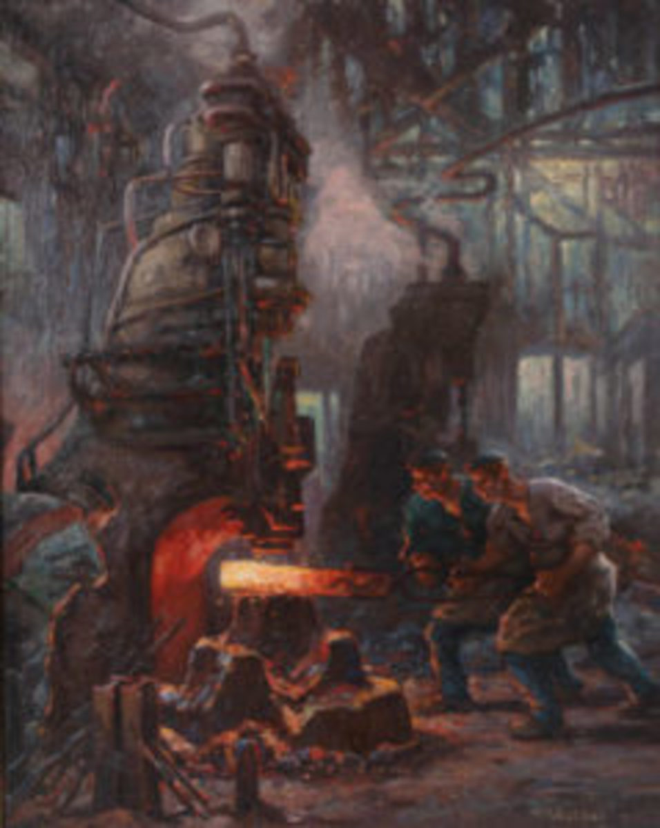 """German Expressionist painting of factory workers by Anton """"Toni"""" Wolter,"""