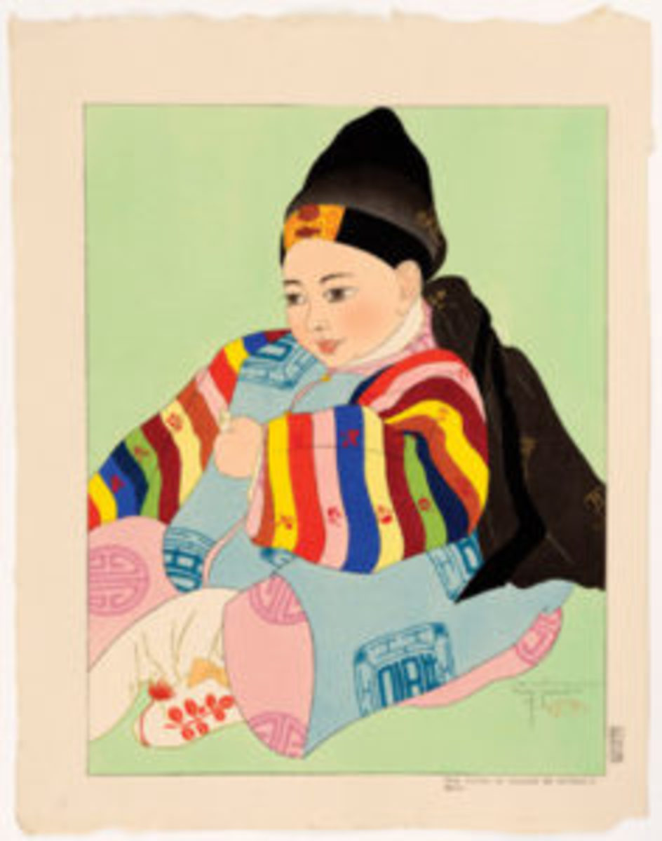 Korean Baby in Ceremonial Costume woodblock print