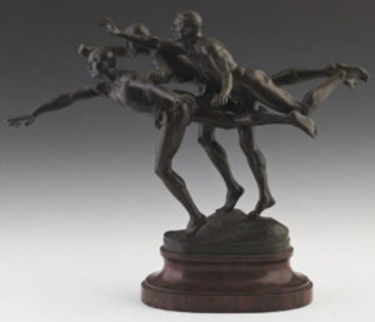 Painted bronze group sculpture by Boucher