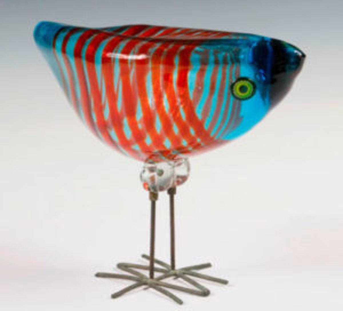 Vistosi Murano blown art glass bird
