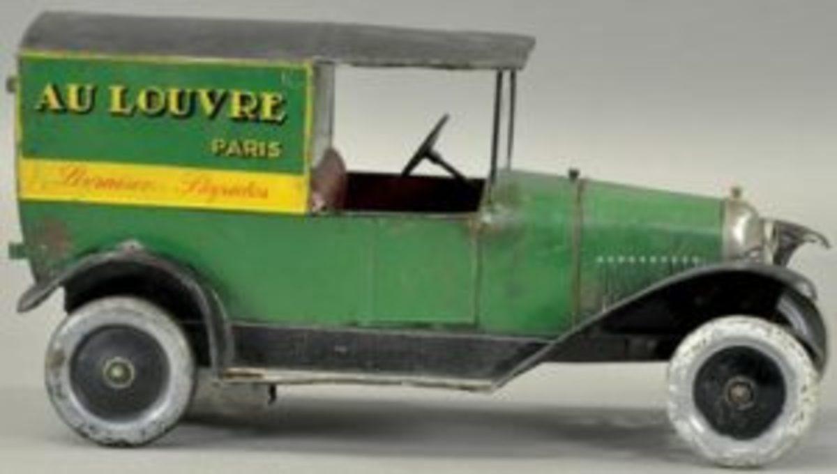 Citroen hand-painted clockwork tin 'Au Louvre' delivery van, $48,000