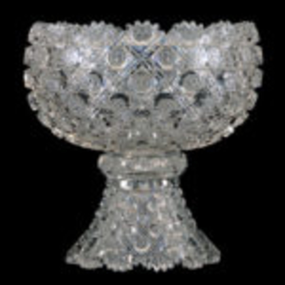 Two-part, 12 inch by 12 inch ABCG punch bowl signed J. Hoare in the Kohinoor pattern, extremely rare with fantastic deep cut hobstar and exquisite blank.