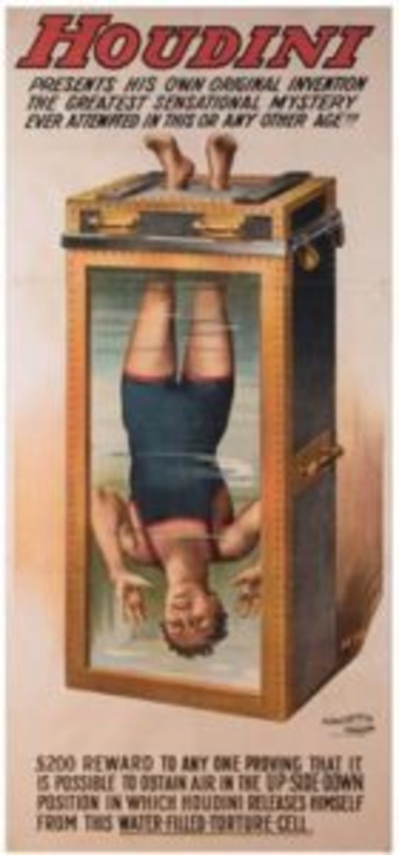 "A rare poster depicting Harry Houdini performing his astounding ""Chinese Water Torture Cell"" act sold for $114,000 at Potter & Potter Auctions in Chicago, setting a record as the most expensive magic poster ever sold at public auction. Image courtesy Potter & Potter Auctions"