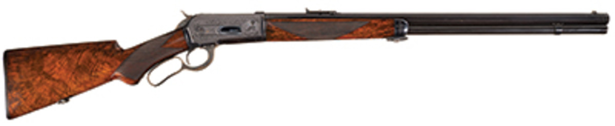Factory Engraved Winchester Deluxe Model 1886 Lever Action Rifle with Platinum Barrel Bands and Factory Letter